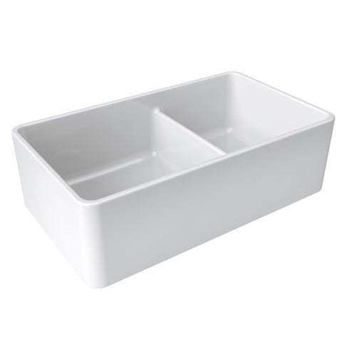 "Image of Latoscana 33"" White Reversible Double Bowl Fireclay Farmhouse Sink LTD3319 - Annie & Oak"