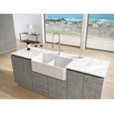 "Latoscana 33"" White Reversible Double Bowl Fireclay Farmhouse Sink LTD3319 - Annie & Oak"