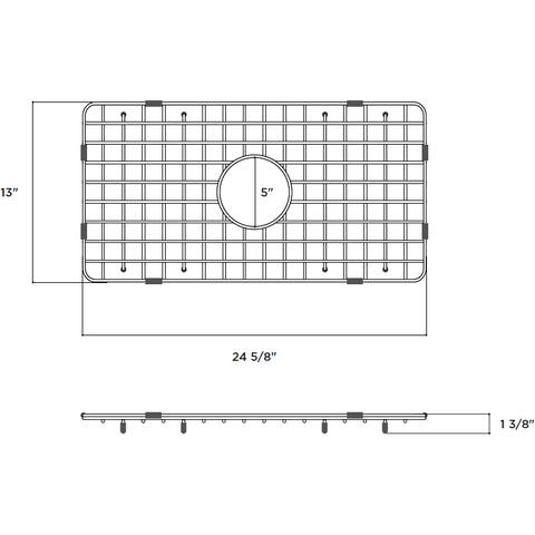 Technical Drawing with Dimension Latoscana SSG-LFS3018 Stainless Steel Kitchen Sink Grid for LFS3018W-Annie & Oak