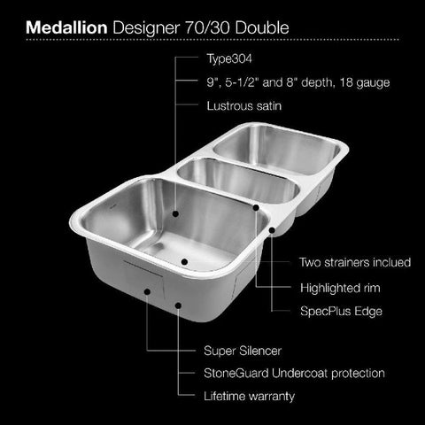 "Image of Houzer MGT-4120-1 40"" Stainless Steel Triple Bowl Undermount Kitchen Sink"