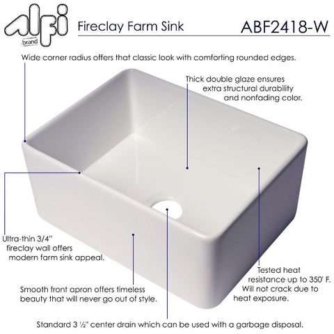 "ALFI brand ABF2418 24"" White Single Bowl Thin Wall Fireclay Farmhouse Sink"