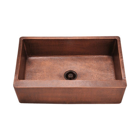 "Polaris P319 33"" Hammered Single Bowl Copper Farmhouse Single"