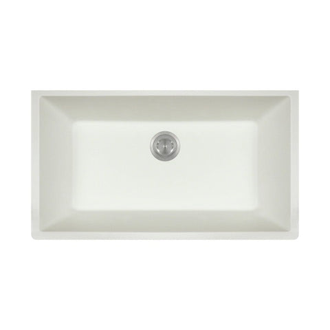 "Polaris P848W 33"" White Single Bowl Astra Granite Undermount Sink"