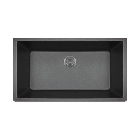 "Polaris P848BL 33"" Black Single Bowl Astra Granite Undermount Sink"