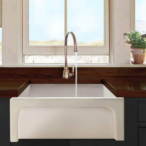 "Nantucket Chatham-24 24"" White Single Bowl Fireclay  Farmhouse Sink - Annie & Oak"