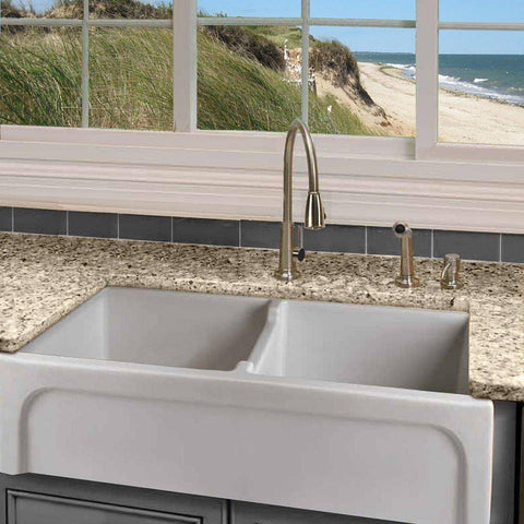 Nantucket Sinks Chatham-39-DBL Fireclay Double Bowl Farmhouse Apron Front Kitchen Sink-Annie & Oak