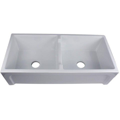 "Image of Nantucket Chatham-39-DBL 39"" White Double Bowl Fireclay Farmhouse Sink - Annie & Oak"