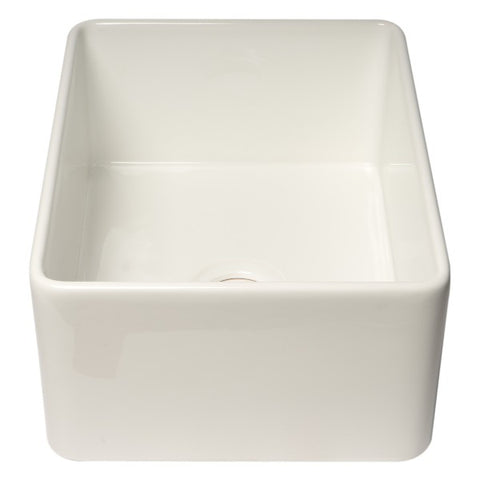 "ALFI brand ABF2418 24"" White Single Bowl Thin Wall Fireclay Farmhouse Sink-Annie & Oak"