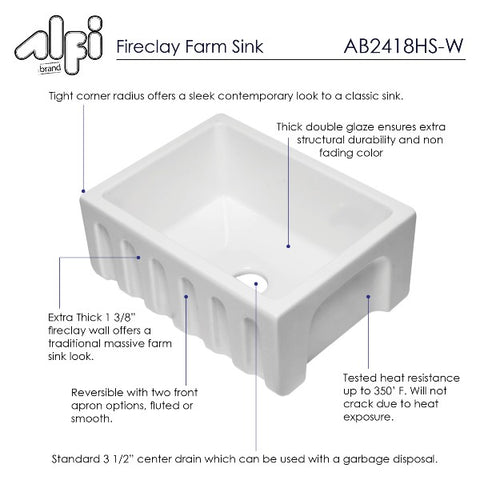 "ALFI brand AB2418HS-W 24"" White Reversible  Single Bowl Fireclay Farmhouse Sink"