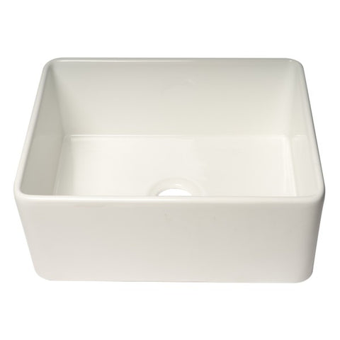 "Image of ALFI brand ABF2418 24"" White Single Bowl Thin Wall Fireclay Farmhouse Sink-Annie & Oak"