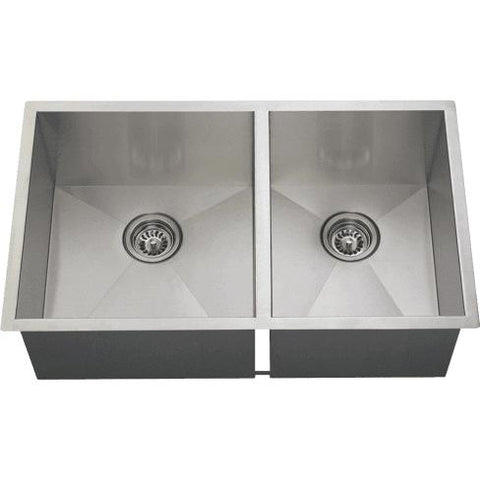 "Polaris 16 Gauge 32"" Double Bowl Stainless Steel Undermount Kitchen Sink Set - Annie & Oak"