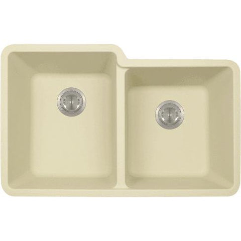 "Polaris P108 32"" Granite Double Offset Basin Undermount Kitchen Sink - Annie & Oak"