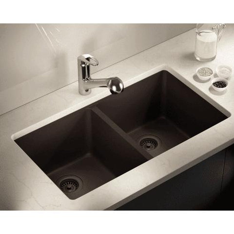 "Polaris P208 32"" Granite Double Basin Undermount Kitchen Sink - Annie & Oak"