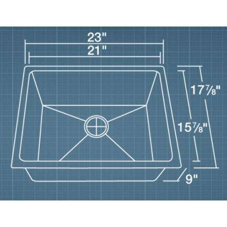 "Polaris P3281 23"" Undermount 18-Gauge Stainless 3/4 Inch Radius Kitchen or Utility Sink - Annie & Oak"