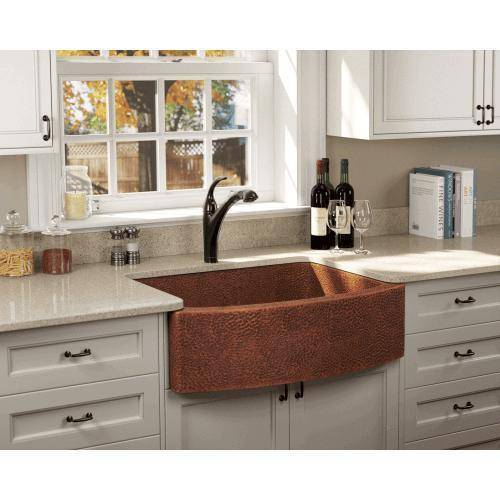 "Polaris P419 33"" Rounded Apron Hammered Copper Farmhouse Kitchen Sink - Annie & Oak"