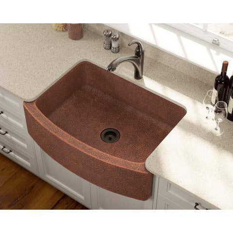 "Polaris P419 33"" Rounded Apron Hammered Copper Farmhouse Kitchen Sink-Annie & Oak"