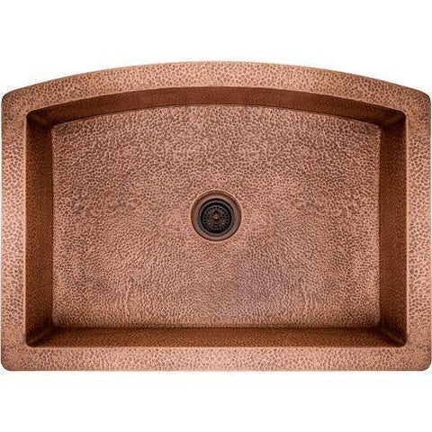 "Image of Polaris P419 33"" Rounded Apron Hammered Copper Farmhouse Kitchen Sink-Annie & Oak"