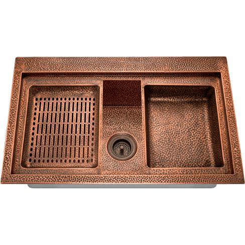 "Polaris P519 32"" Copper Single Basin Dual Mount Kitchen Sink - Annie & Oak"