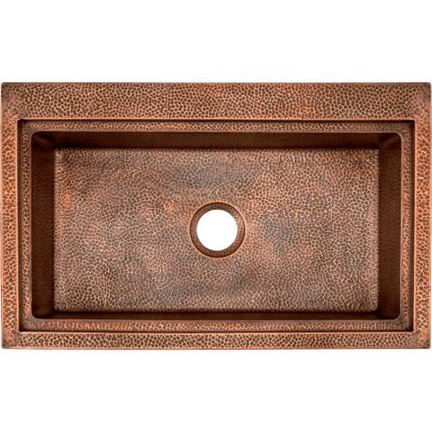 "Image of Polaris P519 32"" Copper Single Basin Dual Mount Kitchen Sink - Annie & Oak"