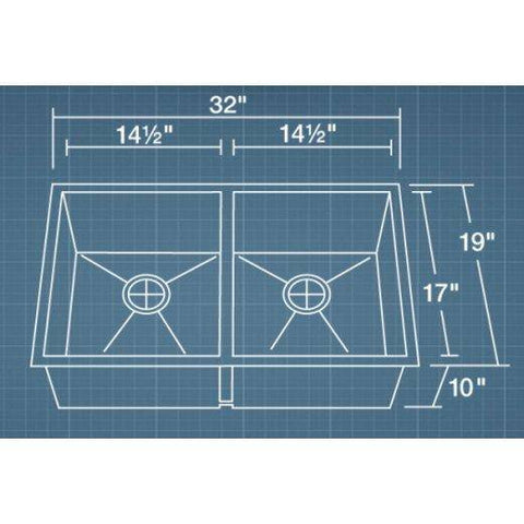 "Image of Polaris PD2233 32"" Stainless Steel Double Basin Undermount Kitchen Sink-Annie & Oak"