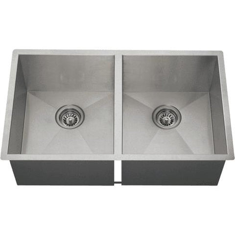 "Polaris PD2233 32"" Stainless Steel Double Basin Undermount Kitchen Sink - Annie & Oak"