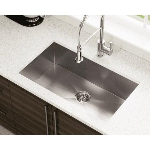 "Polaris PS2233 32"" Stainless Steel Single Basin Undermount Kitchen Sink - Annie & Oak"