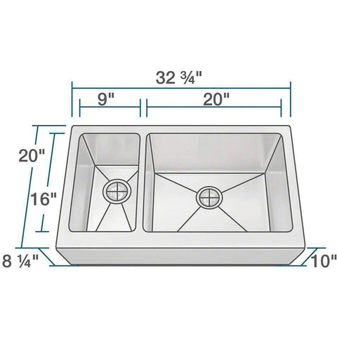 "Image of Polaris Sinks PL704 PR704 33"" Offset Double Bowl Stainless Steel Farmhouse Sink-Annie & Oak"