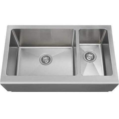 "Polaris Sinks PL704 PR704 33"" Offset Double Bowl Stainless Steel Farmhouse Sink - Annie & Oak"