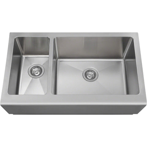 "Polaris Sinks PL704 PR704 33"" Offset Double Bowl Stainless Steel Farmhouse Sink-Annie & Oak"