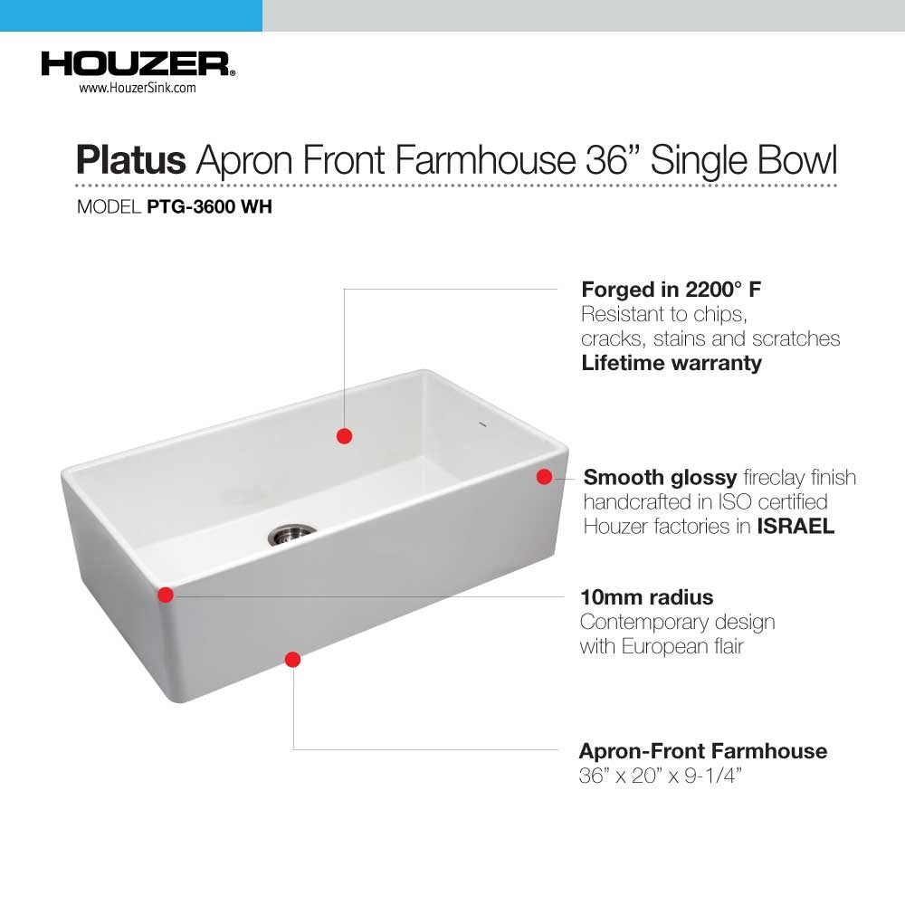 "Houzer Platus PTG-3600-WH 36"" White Single Bowl Fireclay Farmhouse Sink-Annie & Oak"