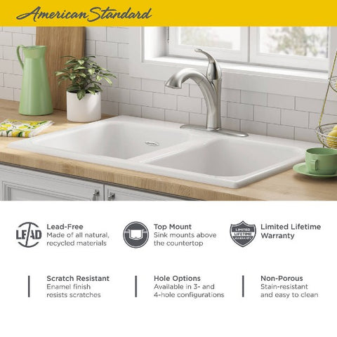 "Image of American Standard Quince 33"" White Double Bowl Cast Iron 4 Hole Top Mount Sink - Annie & Oak"