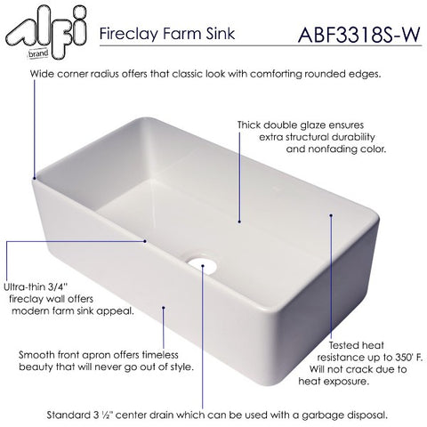 "ALFI Brand ABF3318S 33"" White Single Bowl Thin Wall Fireclay Farmhouse Sink"