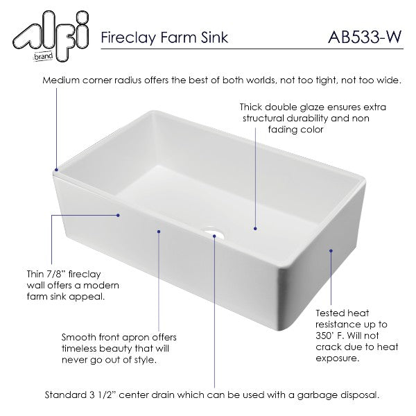 "ALFI brand AB533-W 33"" White Smooth Single Bowl Fireclay Farmhouse Sink"