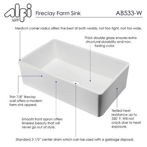 "Image of ALFI brand AB533-W 33"" White Smooth Single Bowl Fireclay Farmhouse Sink"