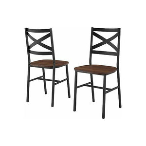 "Walker Edison 36"" Driftwood Industrial Farmhouse Wood Dining Chairs -Set Of 2"