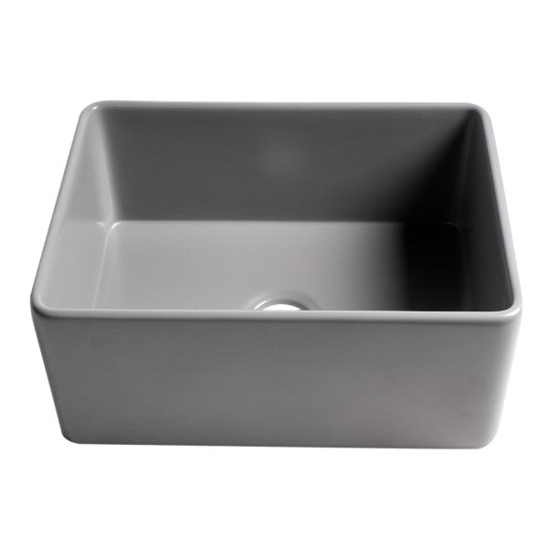 "ALFI brand ABF2418 24"" Matte Gray Single Bowl Thin Wall Fireclay Farmhouse Sink"