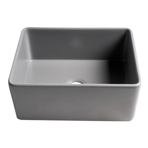 "Image of ALFI brand ABF2418 24"" Matte Gray Single Bowl Thin Wall Fireclay Farmhouse Sink"