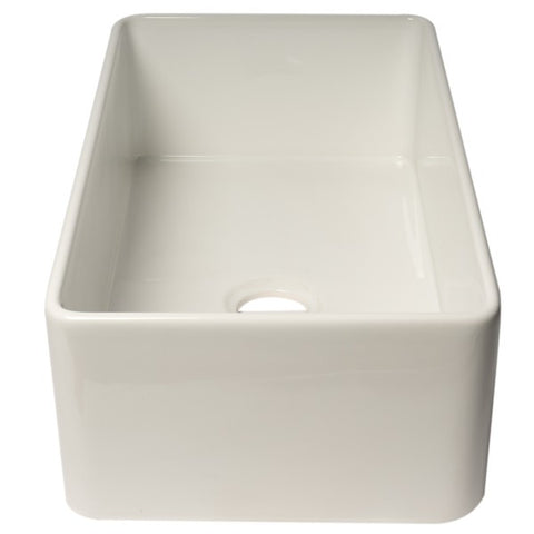 "ALFI Brand ABF3318S 33"" White Single Bowl Thin Wall Fireclay Farmhouse Sink - Annie & Oak"
