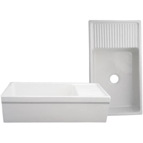 "Whitehaus Vintage WHQD540 36"" White Single Bowl Fireclay Farmhouse Sink w/ Drainboard - Annie & Oak"