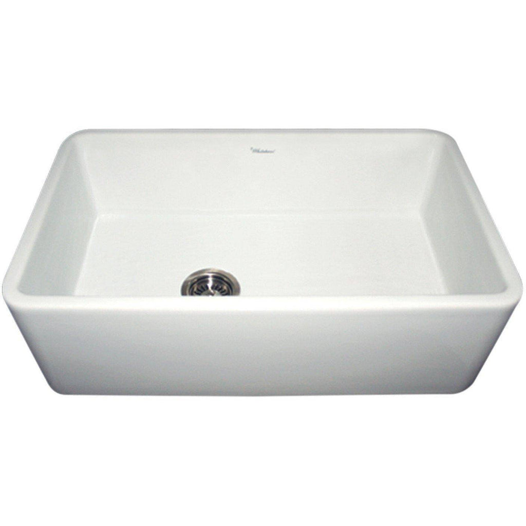 "Whitehaus WH3018 Duet 30"" White Single Bowl Fireclay Reversible Farmhouse Sink - Annie & Oak"