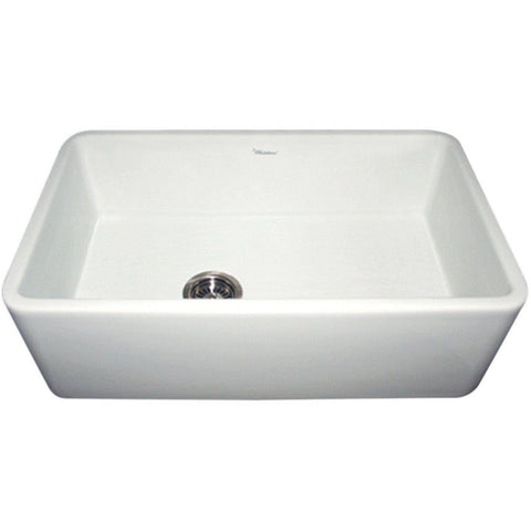 "Whitehaus WH3018 Duet 30"" Fireclay Single Basin Farmhouse Kitchen Sink with Reversible Smooth Front Apron-Annie & Oak"