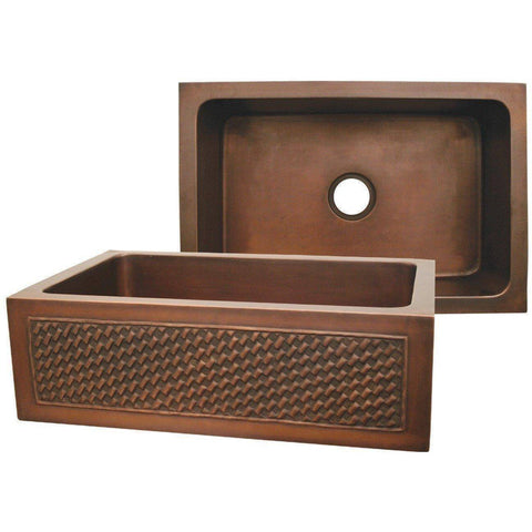 "Image of Whitehaus WH3020COFCBW 30"" Copper Single Basin Front Apron Kitchen Sink With Basket Weave Design-Annie & Oak"