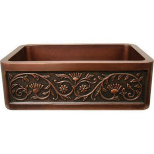 "Whitehaus WH3020COFCSF 30"" Copper Single Bowl Farmhouse Sink w/ Sun Flower Design - Annie & Oak"