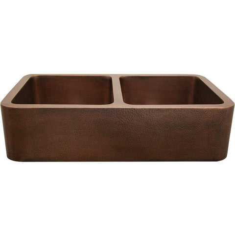"Whitehaus WH3621COFCD 36"" Copper Double Bowl Farmhouse Sink - Annie & Oak"