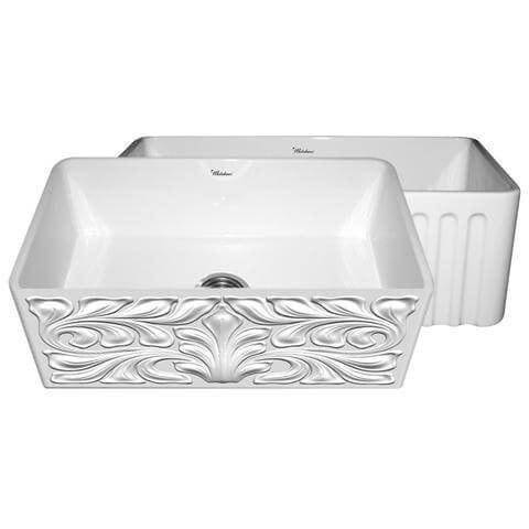 "Image of Whitehaus WHFLGO3018 30"" Fireclay Single Basin Farmhouse Kitchen Sink with Reversible Gothichaus or Fluted Apron-Annie & Oak"