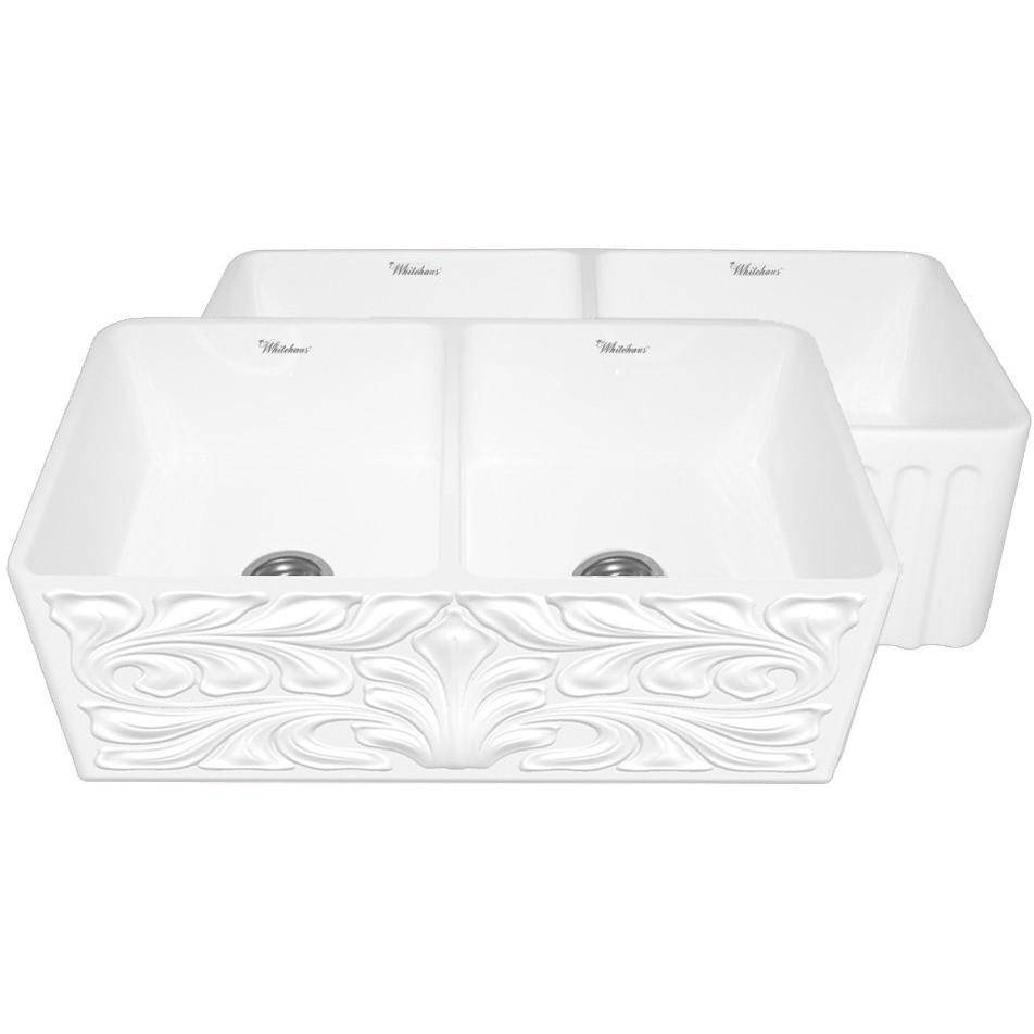 "Whitehaus WHFLGO3318 33"" Fireclay Double Basin Reversible Farmhouse Kitchen Sink With Gothic Swirl Design And Fluted Apron Front-Annie & Oak"