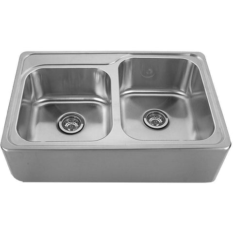 Image of Whitehaus WHNAP3322 Stainless Steel Double Bowl Apron Front Drop In Kitchen Sink-Annie & Oak
