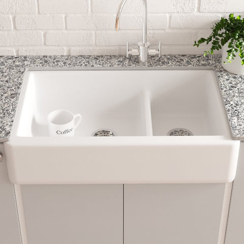 "Image of KOHLER Whitehaven K-6427-0 35"" White Double-Bowl Undermount Kitchen Sink with Tall Apron"