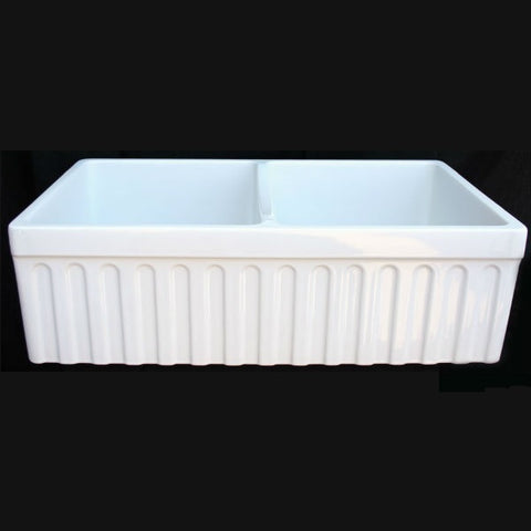 "Whitehaus WHQDB332 33"" White Double Bowl Reversible Fireclay Farmhouse Sink - Annie & Oak"
