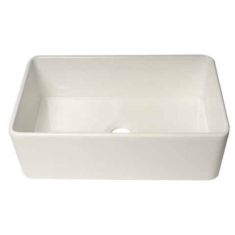 "ALFI brand ABF3018 30"" White Single Bowl Thin Wall Fireclay Farmhouse Sink-Annie & Oak"